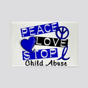 Peace Love Stop Child Abuse 1 Rectangle Magnet