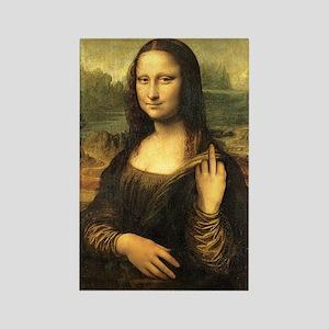 Mona Lisa Flip Off Rectangle Magnet