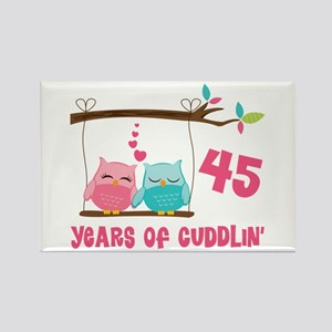 45th Anniversary Owl Couple Rectangle Magnet