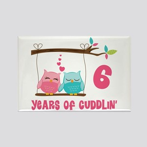 6th Anniversary Owl Couple Rectangle Magnet