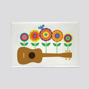 Ukulele Flowers Rectangle Magnet