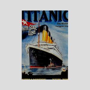 Vintage Titanic Travel Rectangle Magnet