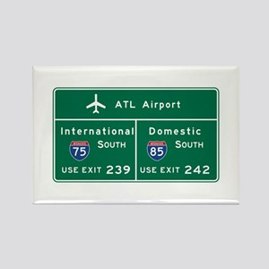 Atlanta Airport, GA Road Sign, US Rectangle Magnet