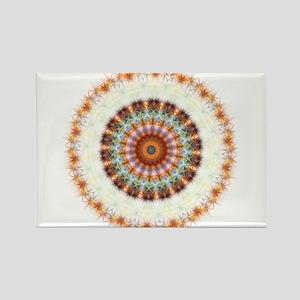 Detailed Orange Earth Mandala Rectangle Magnet