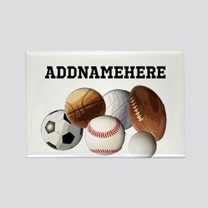 Sports Balls, Custom Name Rectangle Magnet