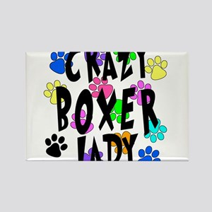 Crazy Boxer Lady Rectangle Magnet