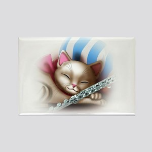 Napping Cat and Flute Rectangle Magnet