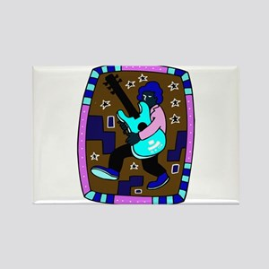 male carrying 5 string bass blue graphic Magnets