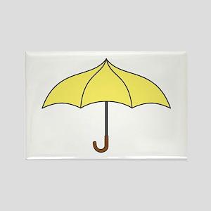 Yellow Umbrella Rectangle Magnet