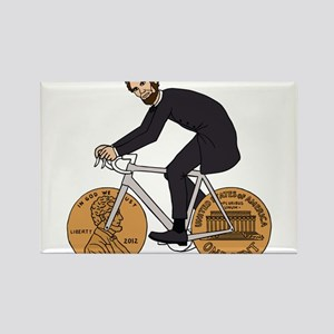 Abraham Lincoln On A Bike With Penny Wheel Magnets