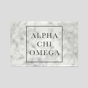 Alpha Chi Omega Marble FB Rectangle Magnet