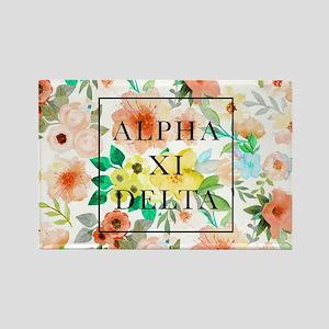 Alpha Xi Delta Floral Rectangle Magnet