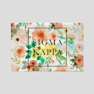 Sigma Kappa Floral Rectangle Magnet