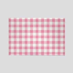 Pink Gingham Pattern Rectangle Magnet