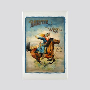 Vintage Cowgirl Roping Rectangle Magnet