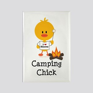 Camping Chick Rectangle Magnet