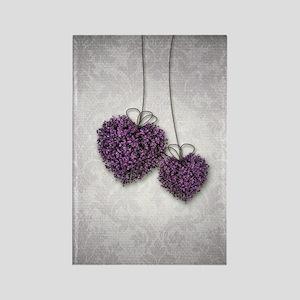 Purple Hearts Rectangle Magnet