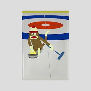 Sock Monkey Olympics Curling Rectangle Magnet