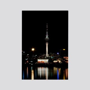 Moon Rise and Sky Tower Rectangle Magnet
