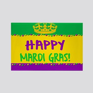 Happy Mardi Gras Crown and Beads Magnets