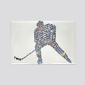 Hockey Player Typography Rectangle Magnet