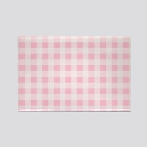 Pink Gingham Checkered Pattern Magnets