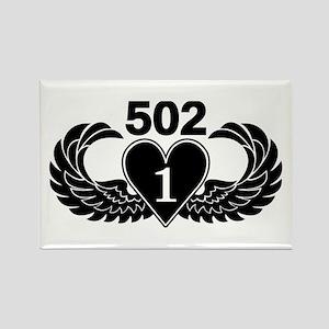 1-502 Black Heart Rectangle Magnet