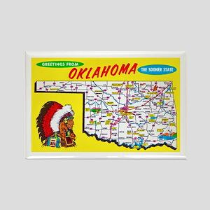 Oklahoma Map Greetings Rectangle Magnet