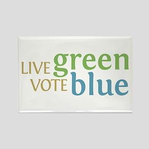 Live Green Vote Blue Rectangle Magnet