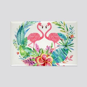 Flamingos With Colorful Tropical Wreath Magnets