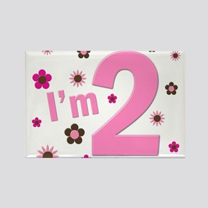 """""""I'm 2"""" Pink & Brown Flowers Rectangle Magnet"""