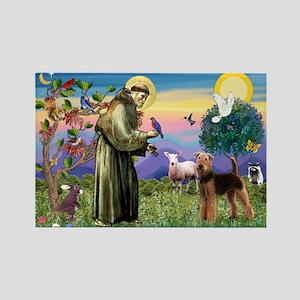 Saint Francis & Airedale Rectangle Magnet