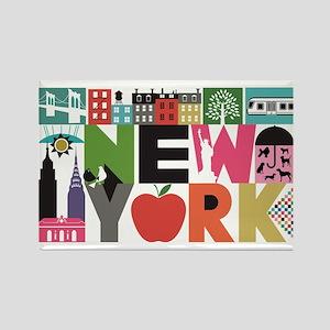 Unique New York - Block by Block Rectangle Magnet