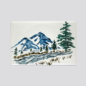 Sketch Mountain Scene Rectangle Magnets
