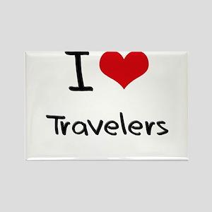 I love Travelers Rectangle Magnet