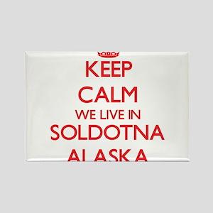 Keep calm we live in Soldotna Alaska Magnets