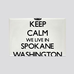 Keep calm we live in Spokane Washington Magnets