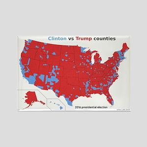 Trump vs Clinton Map Rectangle Magnet