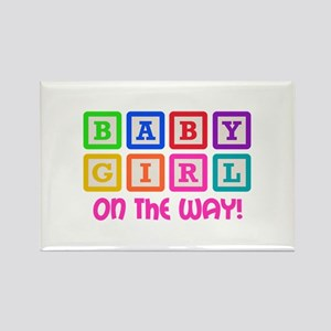 BABY GIRL ON THE WAY Magnets