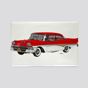 1958 Ford Fairlane 500 Red & White Rectangle Magne