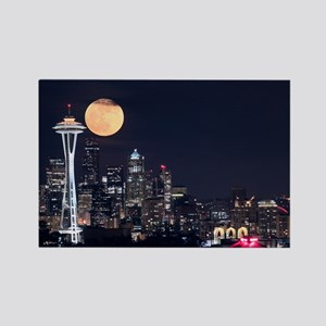 Seattle Space Needle Full Moon Rectangle Magnet