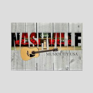 Nashville Music City-LS Rectangle Magnet
