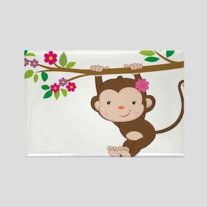 Swinging Baby Monkey Rectangle Magnet