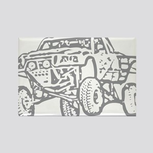 Off-Road Race Truck Grey Rectangle Magnet