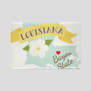 Louisiana Bayou State Outline Magnolia Flower Magn