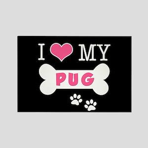 I Love My Pug Rectangle Magnet