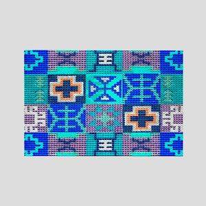 Blue Navajo Symbols Rectangle Magnet