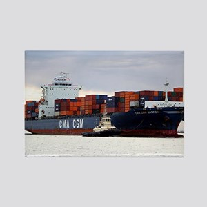 Container cargo ship and tug Magnets