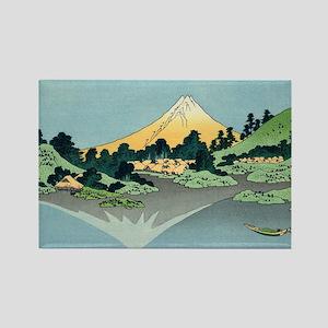 mount fuji hokusai Rectangle Magnet