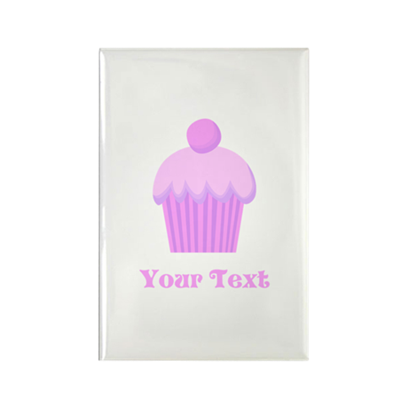 Pink Cupcake with Custom Text Rectangle Magnet
